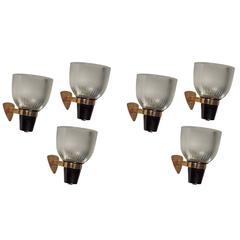 "Six Ignazio Gardella ""LP5"" wall lights for Azucena"