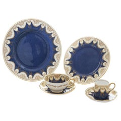 Complete Service for 12, Antique English Crushed Lapis and Gilt Garland