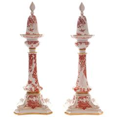 "Pair of Royal Crown Derby Candlesticks and Snuffers, ""Red Aves"" Dolphin Figural"