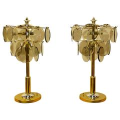 Pair of Brass, Chrome and Smoked Glass Lamps After Vistosi