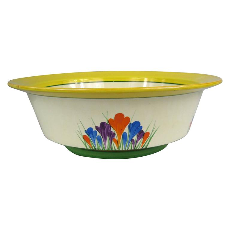 Rare Large Clarice Cliff Bizarre Crocus Bowl, 1930s