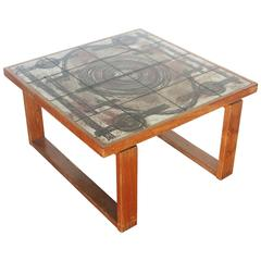 Tile Top Coffee Table with Teak Baseby by Ox-Art