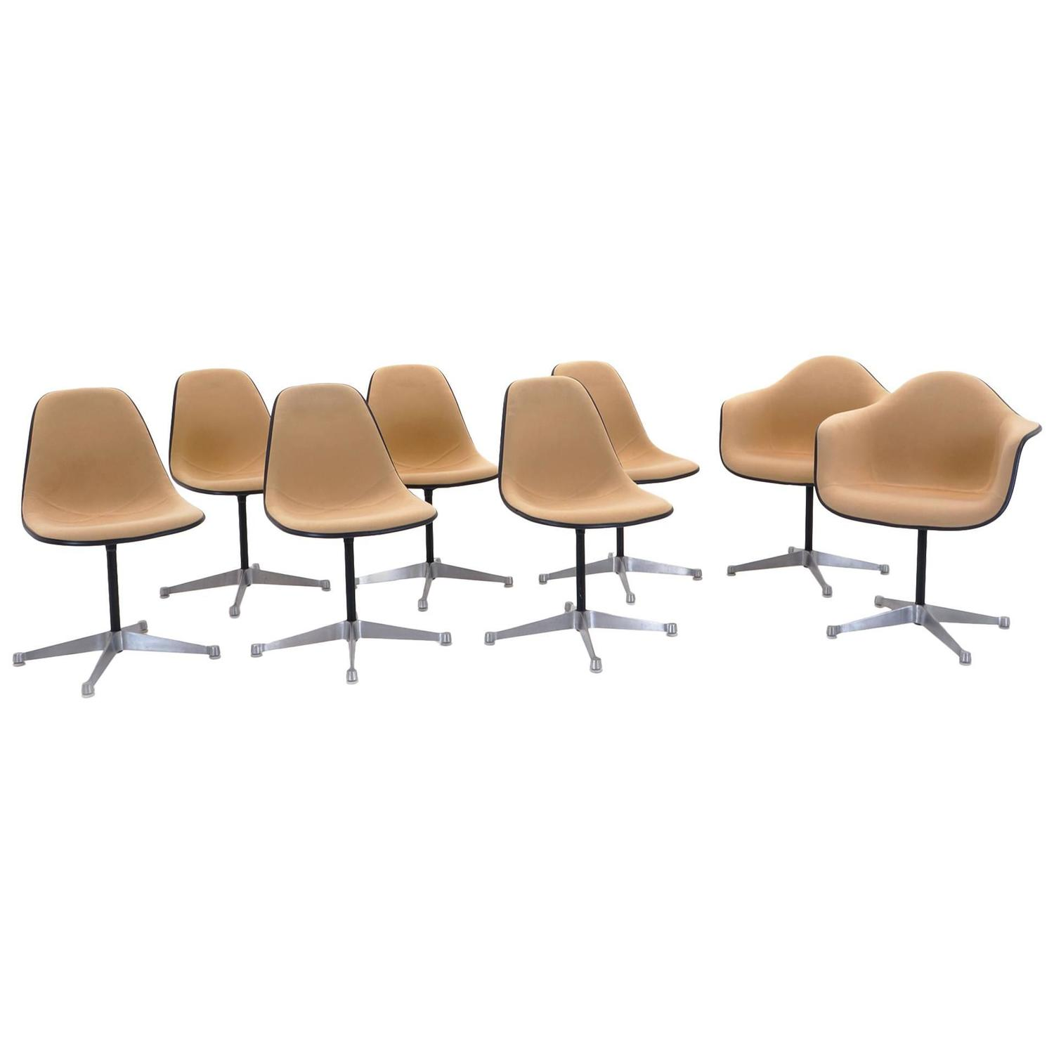 Set of Eight Upholstered Eames Swivel Dining Chairs Two Arm and