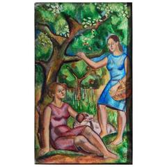 """Under the Apple Tree,"" Tour de Force Enamel Painting with Two Women"