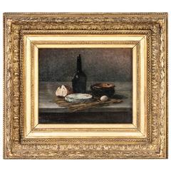 19th Century French Oil Painting Still Life with Original Giltwood Frame