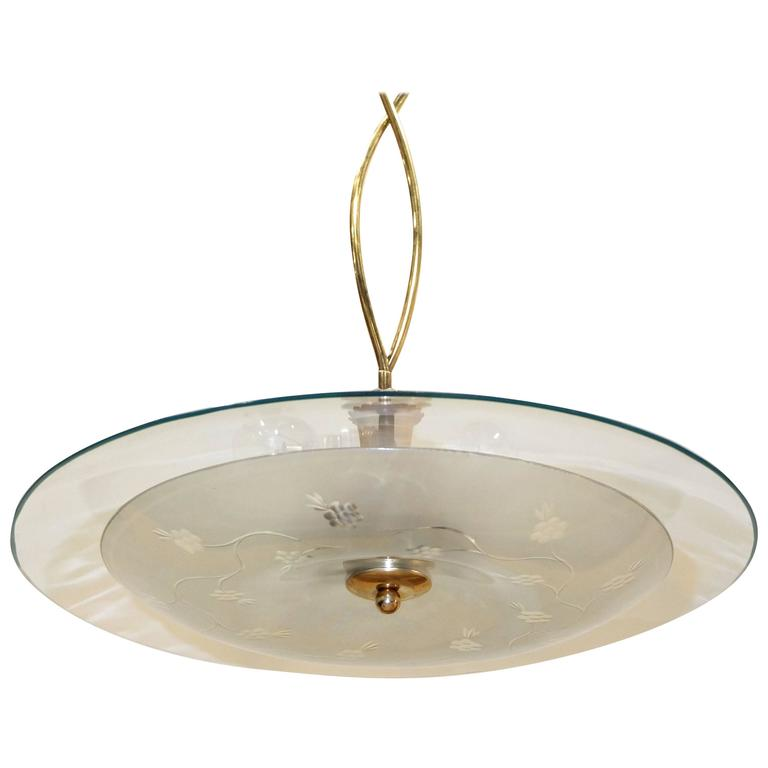 1950s Italian Glass UFO Pendant with Twisted Brass Stem For Sale