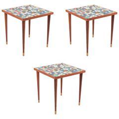 Three Walnut Brass and Mosaic Glass Side Tables