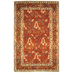 Antique Northwest Persian Oriental Carpet, Small Decorative Rug w/ Floral Design