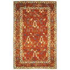 Antique Northwest Persian Oriental Carpet, Small Decorative Rug w/ Floral Design