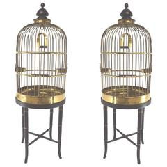 Pair of Decorative Antique English Rolled Brass Wire Parrot Cages, circa 1845
