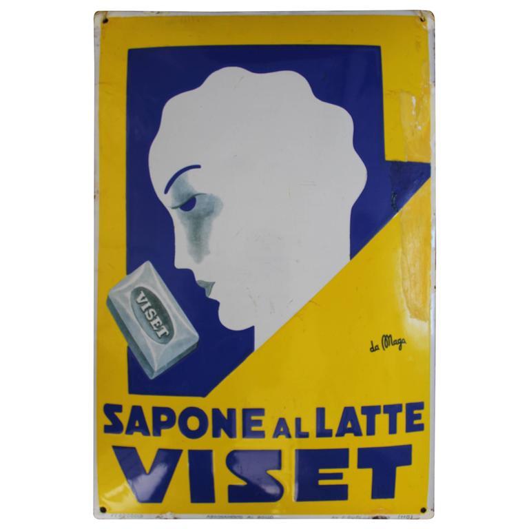 Giuseppe Magagnoli 'Maga' Art Deco Porcelain Sign, Poster, for Viset For Sale