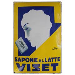 Giuseppe Magagnoli 'Maga' Art Deco Porcelain Sign, Poster, for Viset