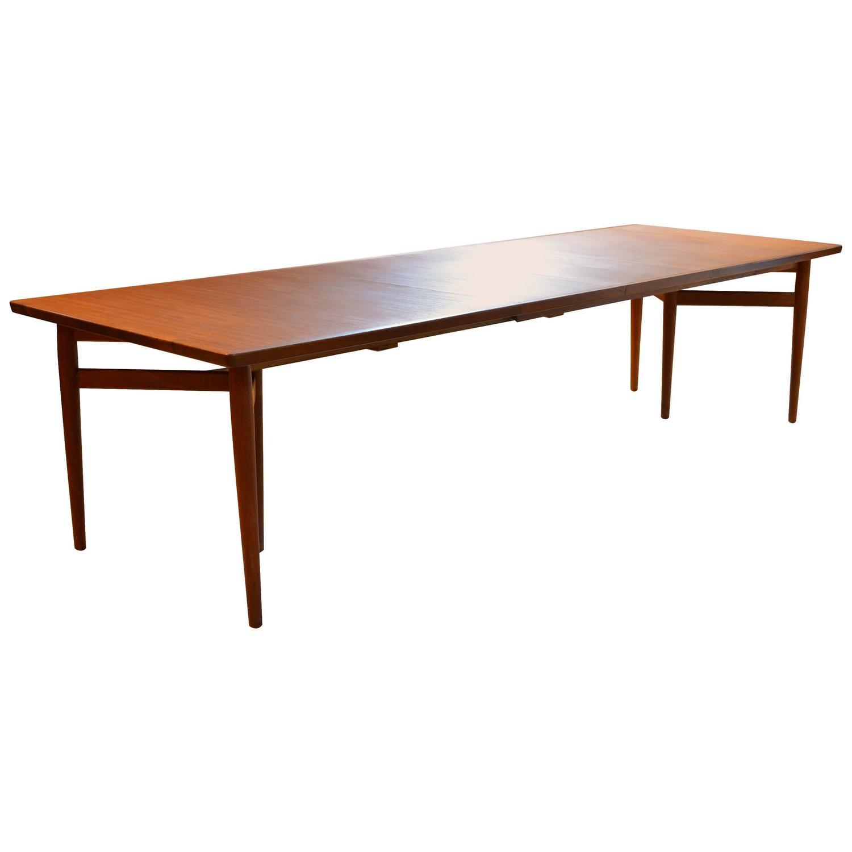 Danish Modern Teak Arne Vodder Dining Table With Two