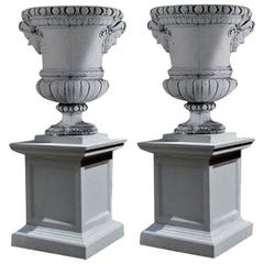 Pair of Louis XIV Style Composition Marble Urns