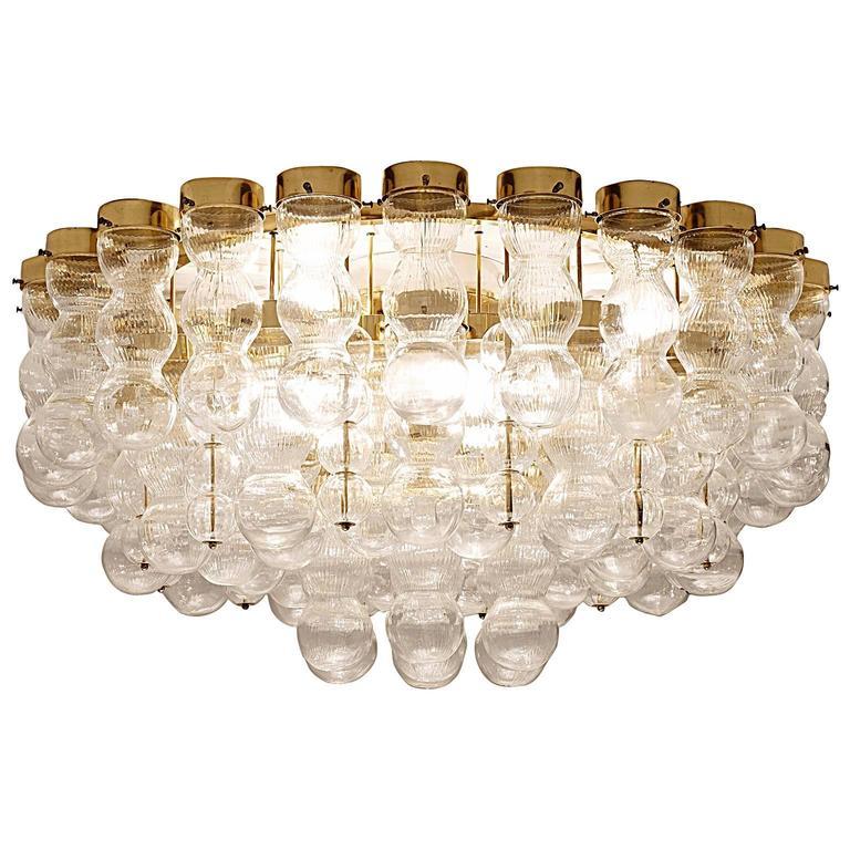 Brass Chandelier with Structured Glass circa 1970