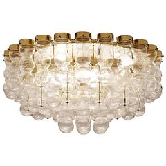 Brass Chandelier with Structured Glass circa 1970
