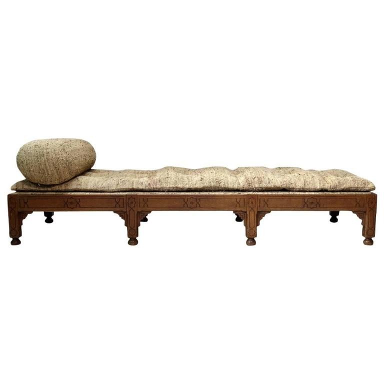 Oriental Style Oak Daybed, France, circa 1910s For Sale