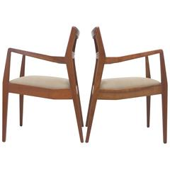 "Pair of Jens Risom Walnut ""Playboy"" Armchairs"