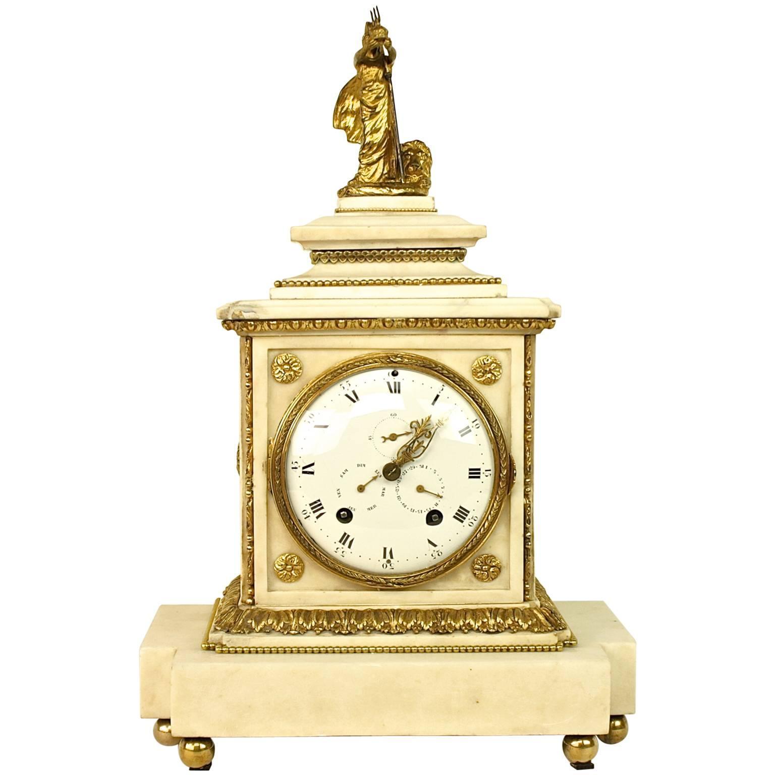 Large 18th century Louis XVI White Marble Mantel Clock Representing Athena
