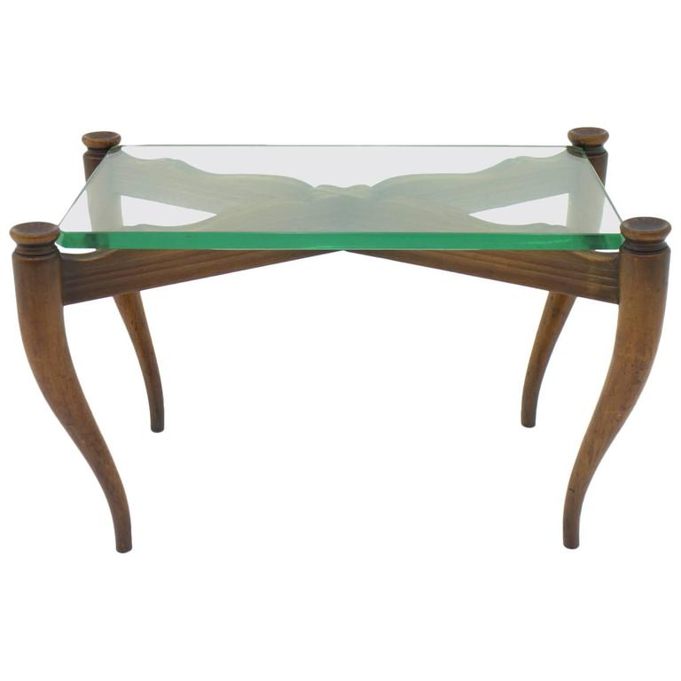 Nice Coffee Table Wood and Glass, Italy, 1950s