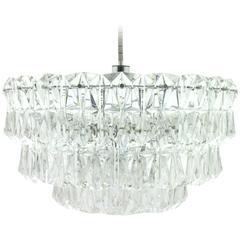 Large Four Tiers Crystal Glass Chandelier by Kinkeldey, 1970s