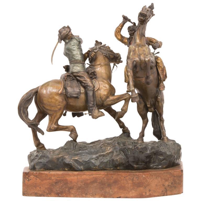 Cowboy and Indian Sculpture by, Carl Kauba