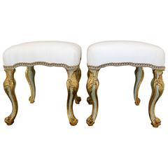 Pair of 1750s Italian Piedmontese Rococo Blue-Painted and Parcel-Gilt Stools