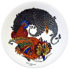 Mid-Century Modern Painted Porcelain Plate, Limited Edition