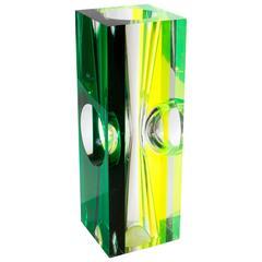 Green and Fluorescent Lucite Sculpture Par Roz Stroll