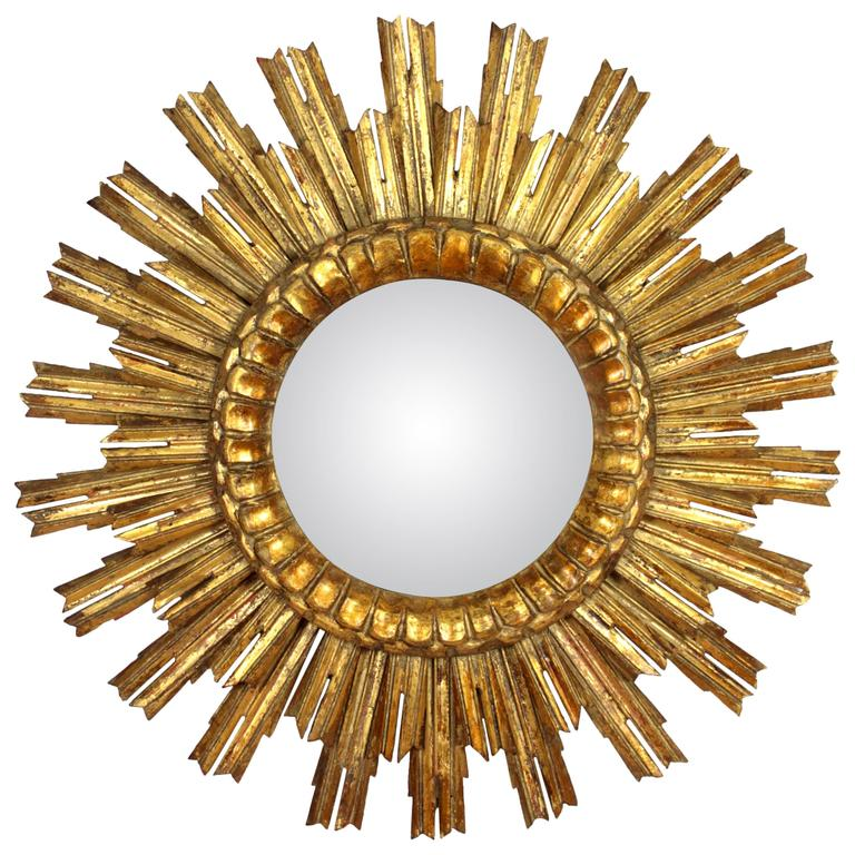 Baroque Style Giltwood Double Layered Convex Sunburst Mirror