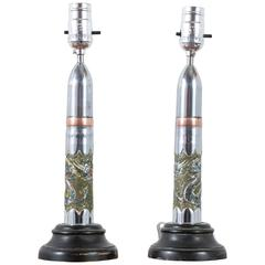 Pair of Vintage Trench Art Lamps