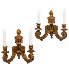 Wall Sconces Gilt Wood French 19th Century France