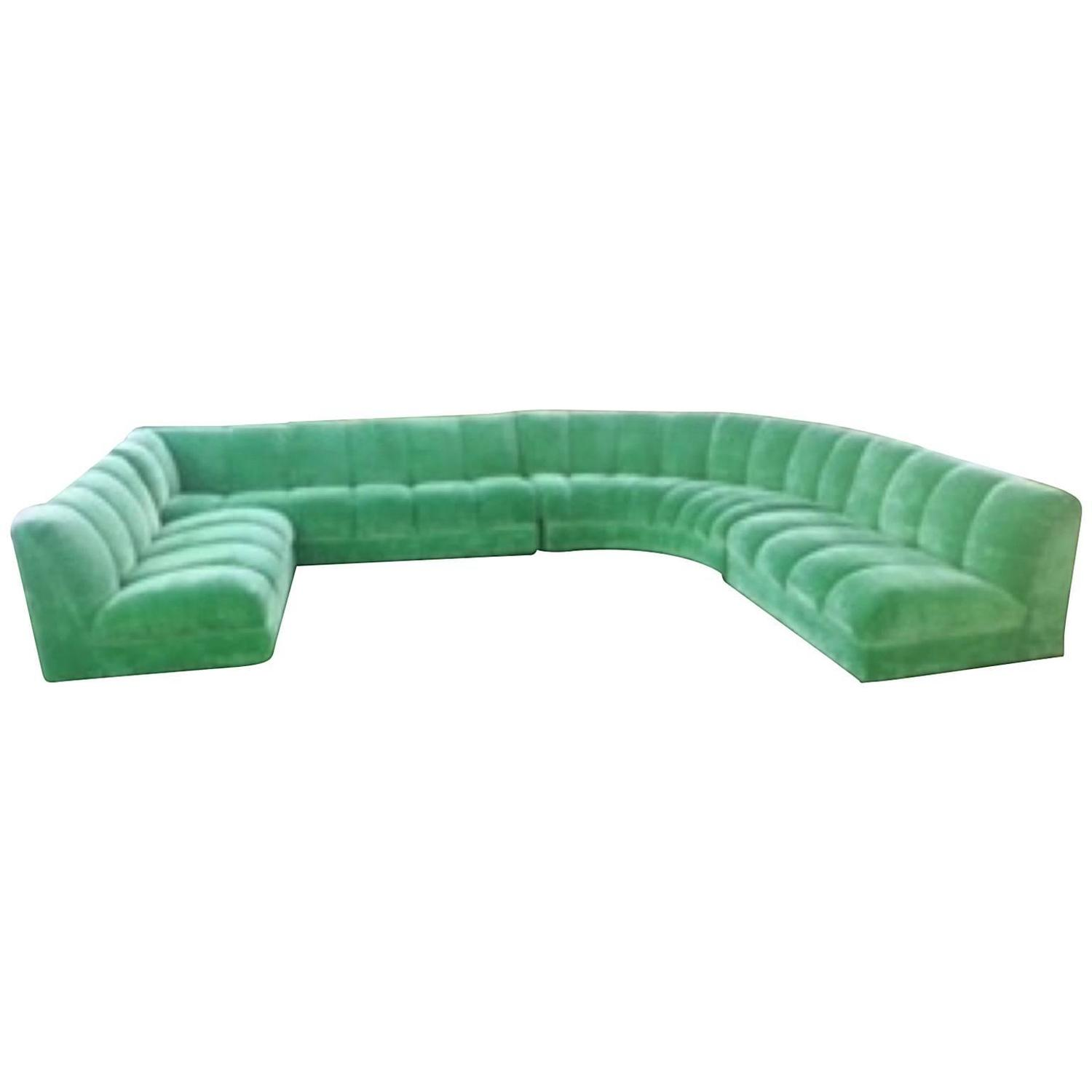 Four Piece Sectional Couch In The Style Of Milo Baughman
