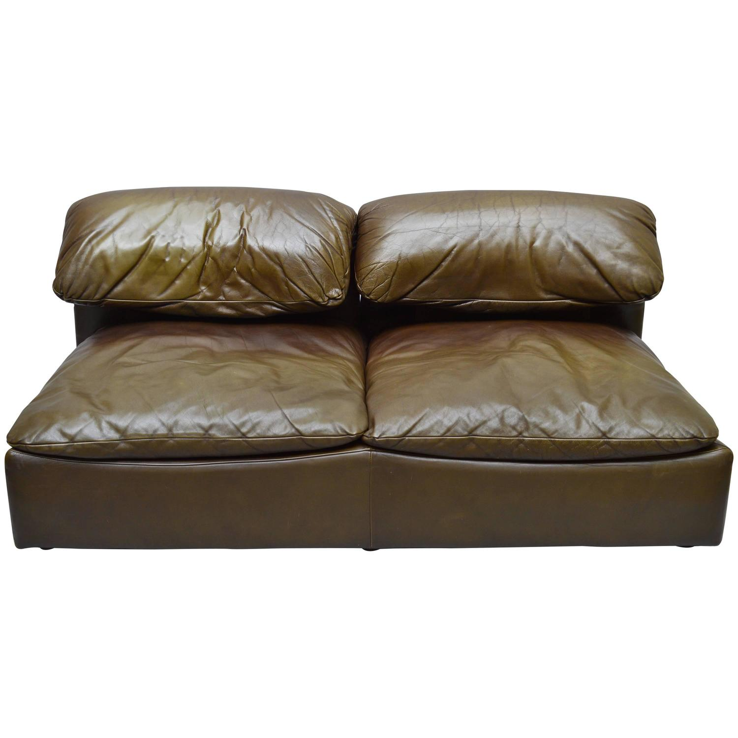 Roche bobois floor cushion seating Rectangular Floor 1stdibs 1970s Roche Bobois Leather Twoseat Sofa At 1stdibs