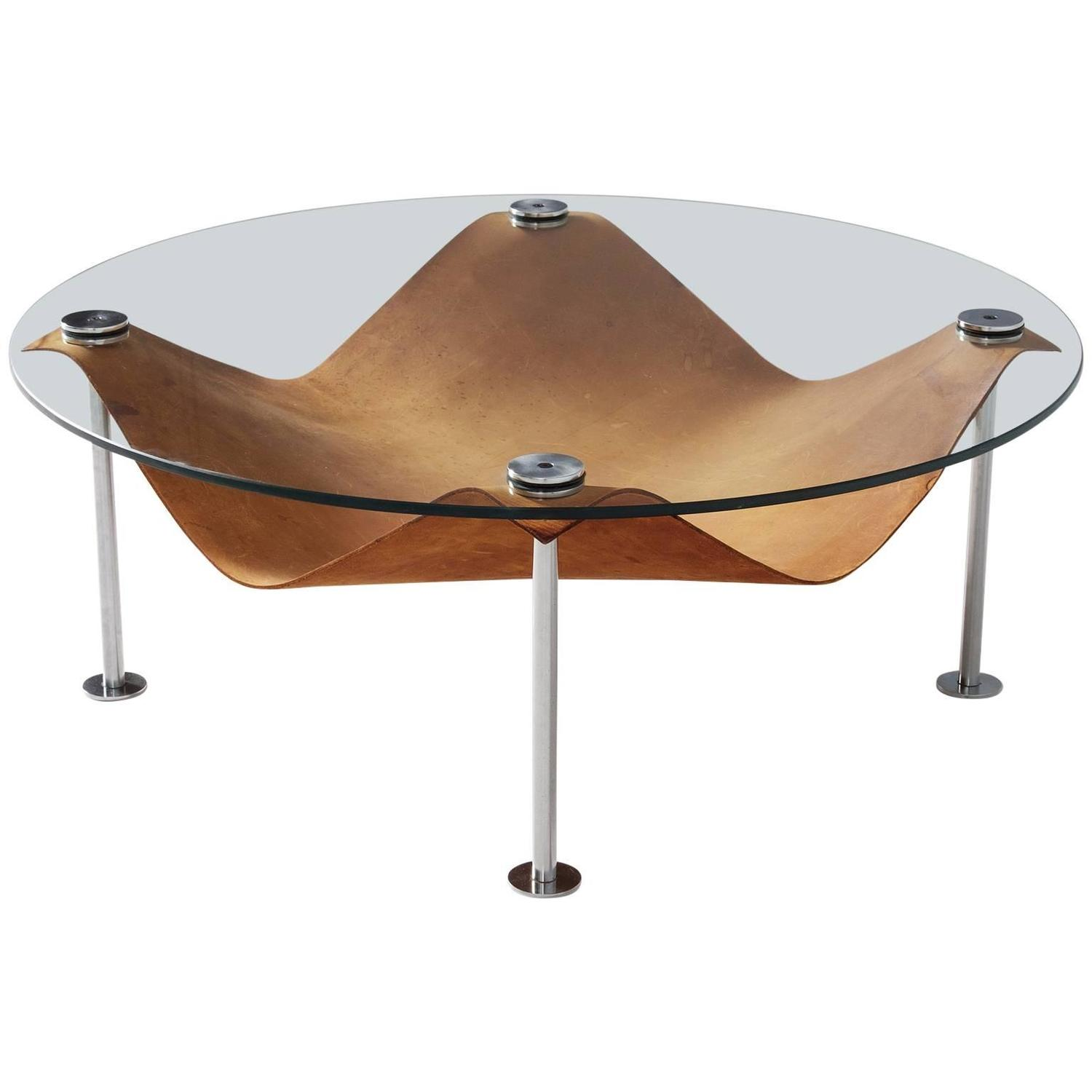 Round coffee table in glass and cognac leather for sale at for Round glass coffee tables for sale