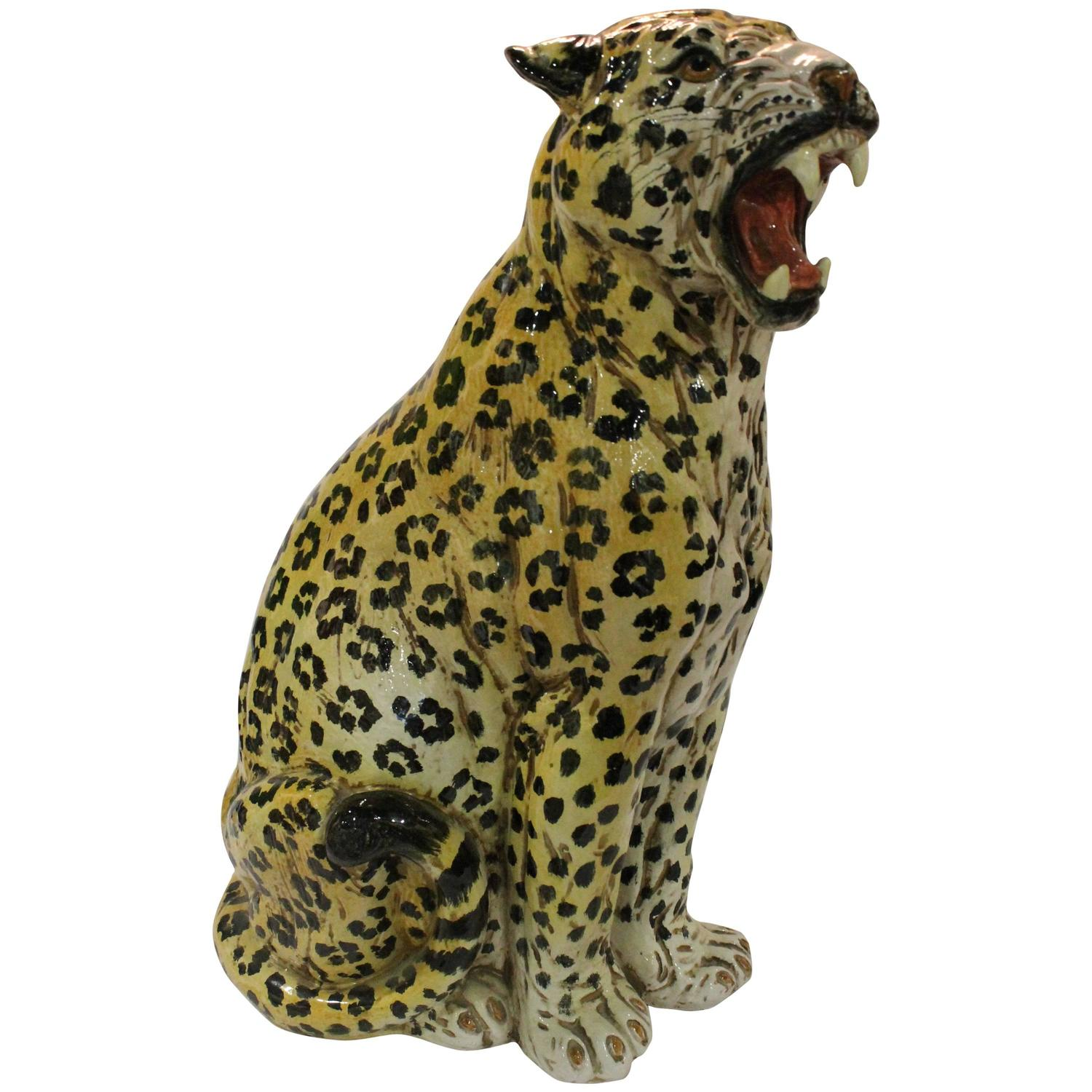 Vintage italian terra cotta cheetah statue for sale at 1stdibs - Cheetah statues ...