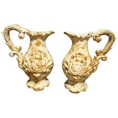 Pair of French Antique Cast Iron Pitchers
