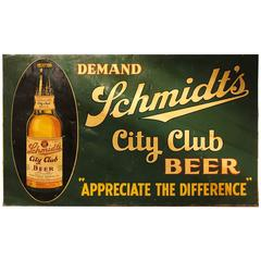 "Large 1930s American Tin Advertising Sign ""City Club Beer"""