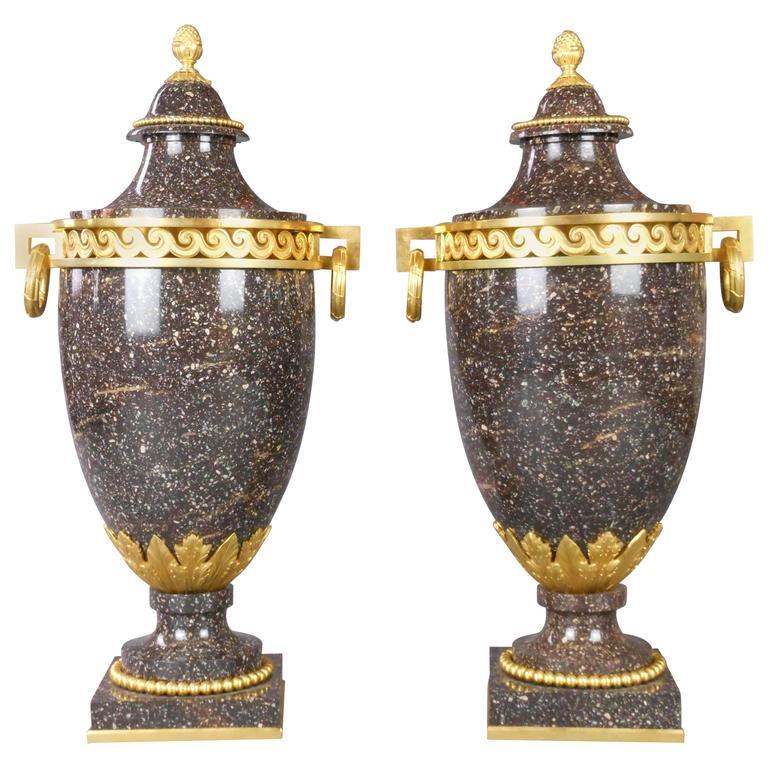 Swedish Pair of Neoclassical Gilt Bronze Porphyry Urns