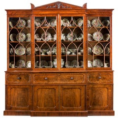 Regency Mahogany Library Breakfront Secretaire Bookcase attributed to Gillows