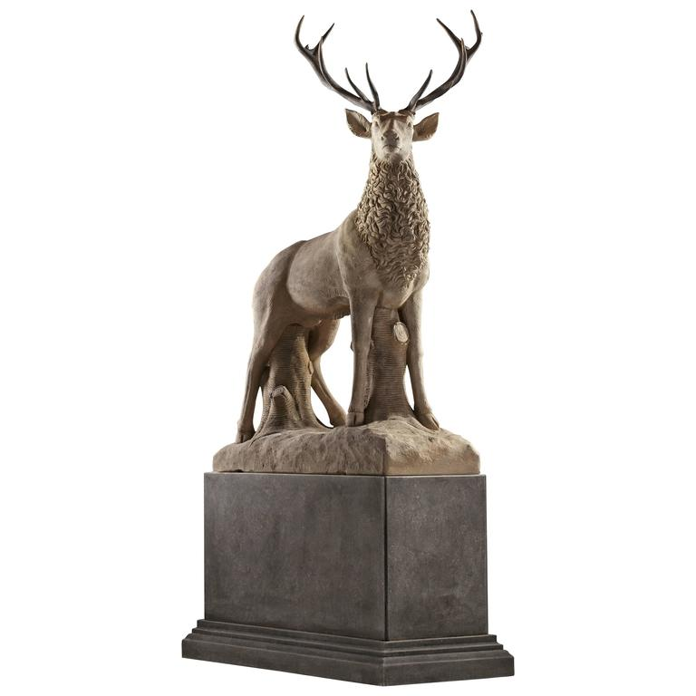 Large Sculpted Limestone and Antler Mounted Model of a Stag For Sale