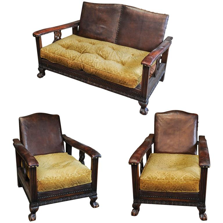 1920s Dutch Colonial Suite of Furniture/Living Room Set of Sofa and Two Chairs For Sale