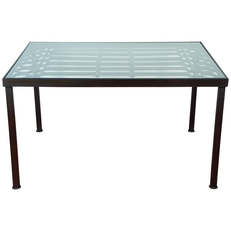 Wrought Iron & Glass Indoor/Outdoor Dining Table