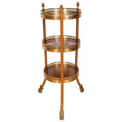 Elegant Three-Tiered Table in Amboyna Wood with Gilded Brass Cage and Accent