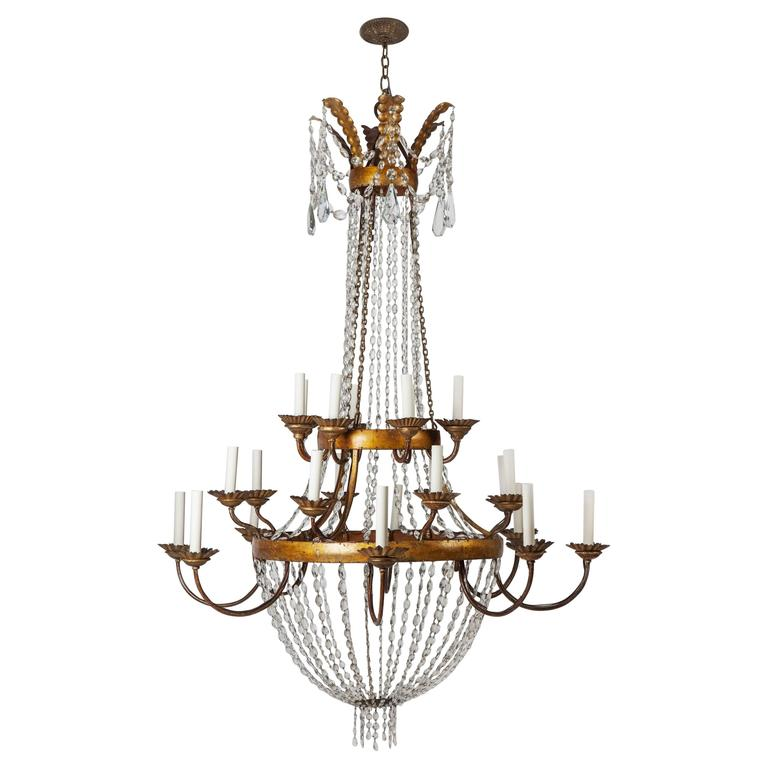 Gilded Iron And Crystal Chandelier For Sale At 1stdibs