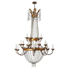Gilded Iron and Crystal Chandelier