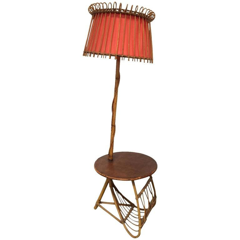 French Bamboo Floor Lamp with Rafia Top Tablet and Magazine Rack