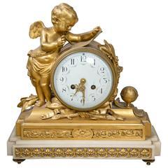 French Dore Bronze Figural Clock