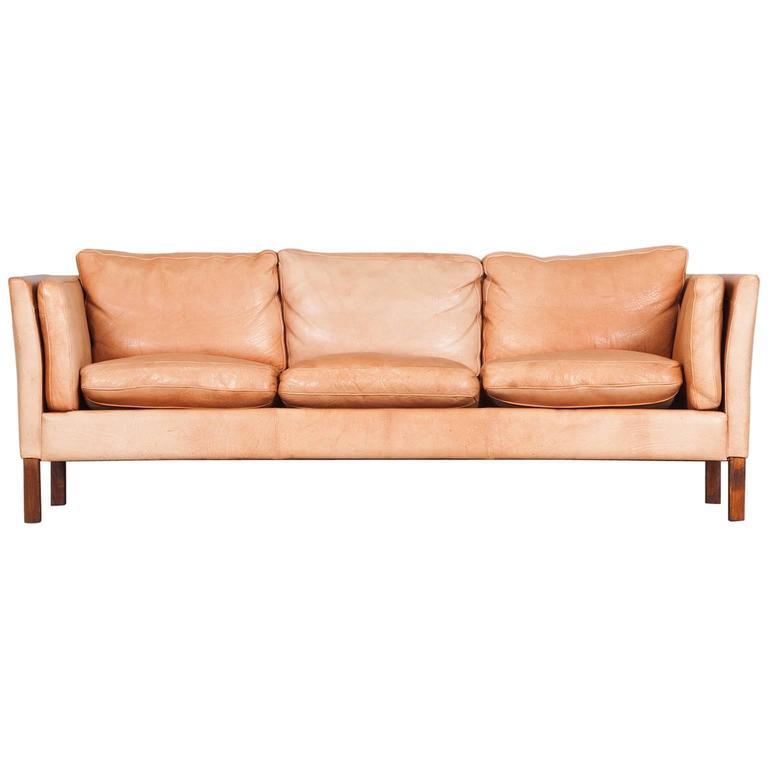 Danish Three Seater Sofa In Light Tan Leather 1960s At