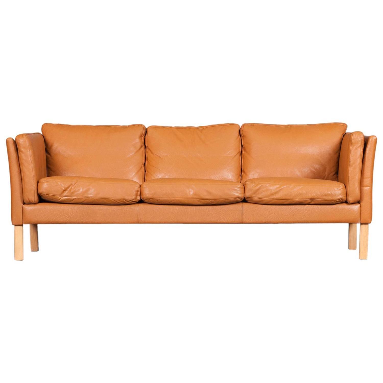 Danish Three Seater Honey Mustard Leather Sofa, 1960s At 1stdibs